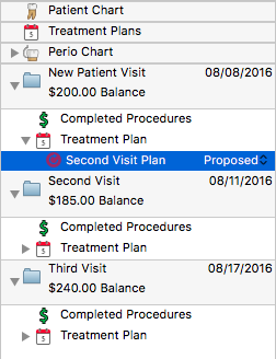 The Treatment Plan Will Display All Of Treatments With A Red Outline This Allows User To See Timeline Restorations Just
