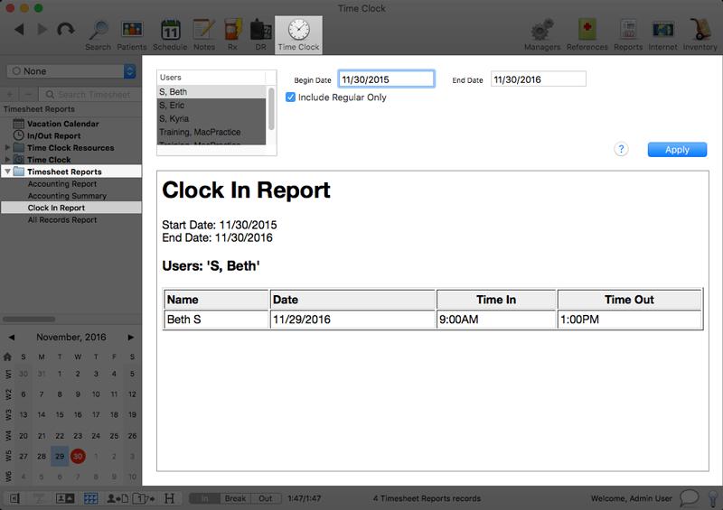 timesheet report clock in report macpractice helpdesk